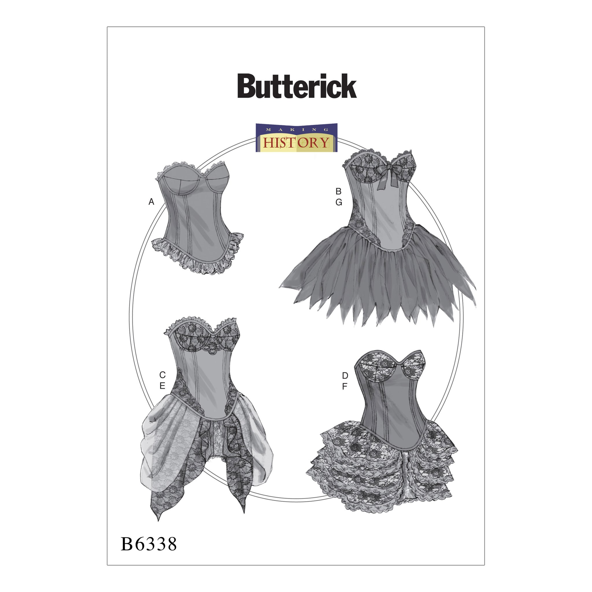 Butterick B6338E50 Curved-Hem Corsets and Skirts 14-16-18-20-22
