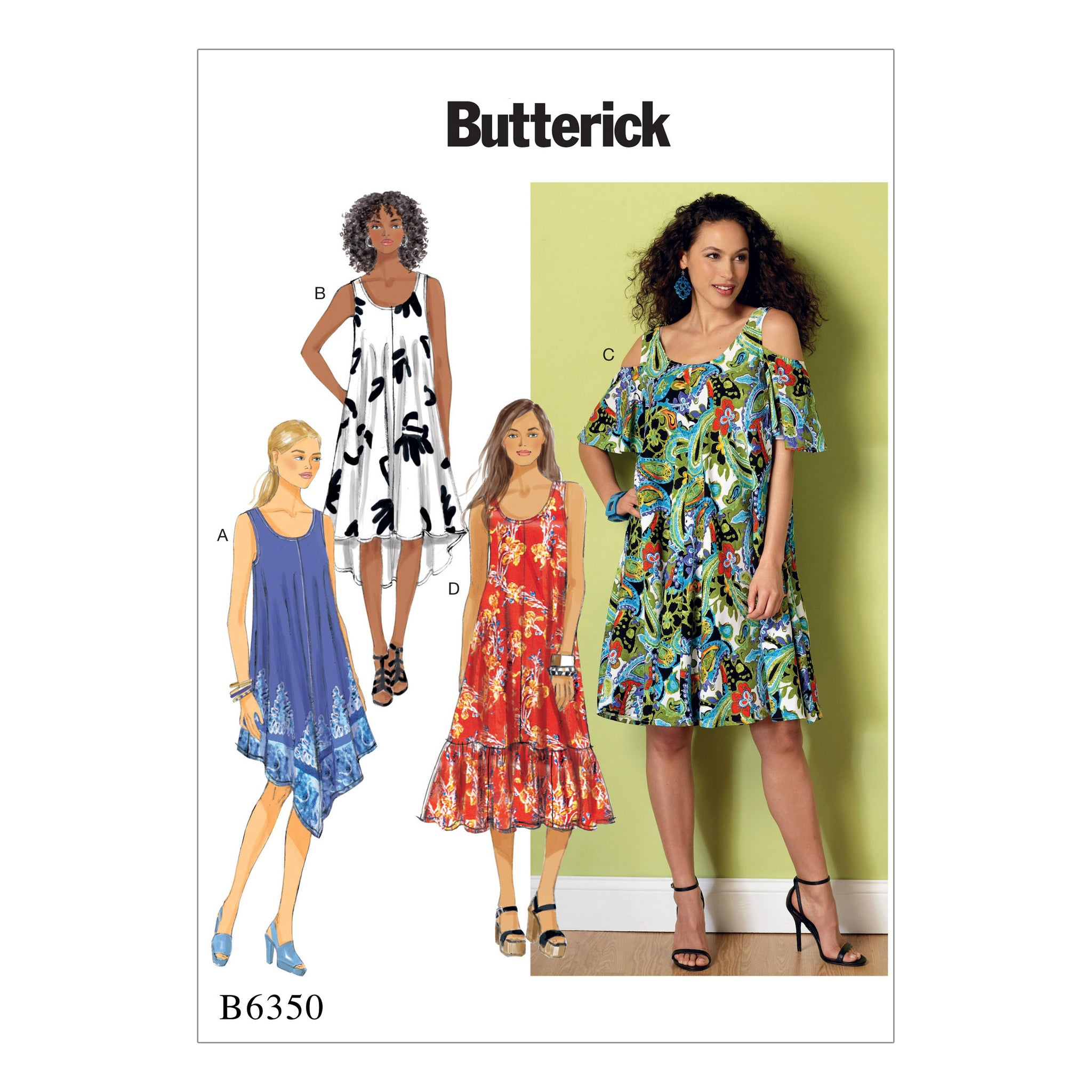 Butterick B6350ZZ0 Misses' Sleeveless and Cold Shoulder Dresses 16-18-20-22-24-26
