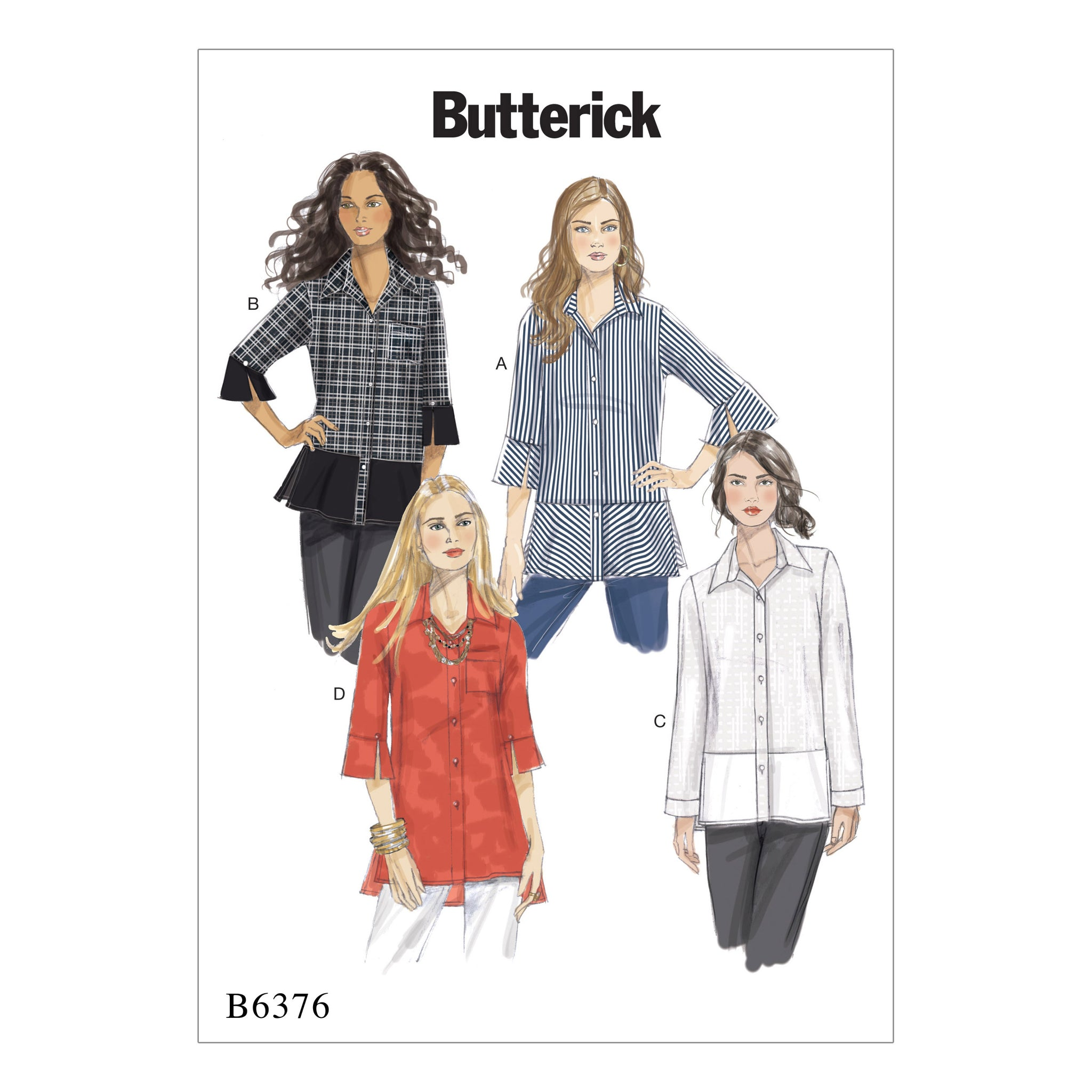 Butterick B6376E50 Misses' Button-Down Shirts with Side Slits 14-16-18-20-22