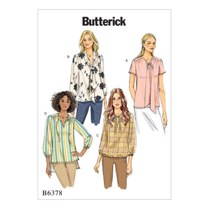 Butterick B6378E50 Misses' Gathered Tops and Tunics with Neck Ties 14-16-18-20-22