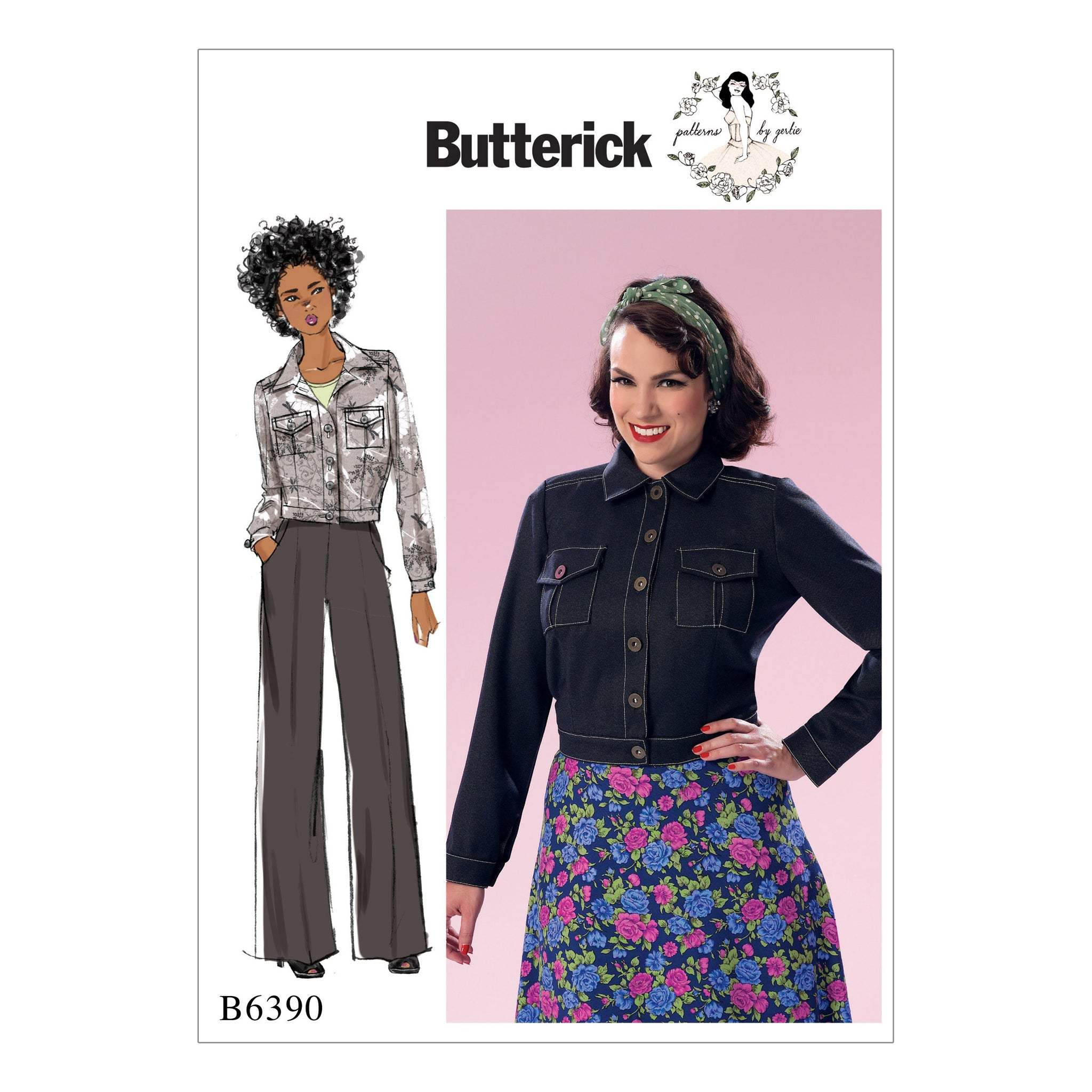 Butterick B6390E50 Misses' Button-Down Jacket with Bust Pockets 14-16-18-20-22