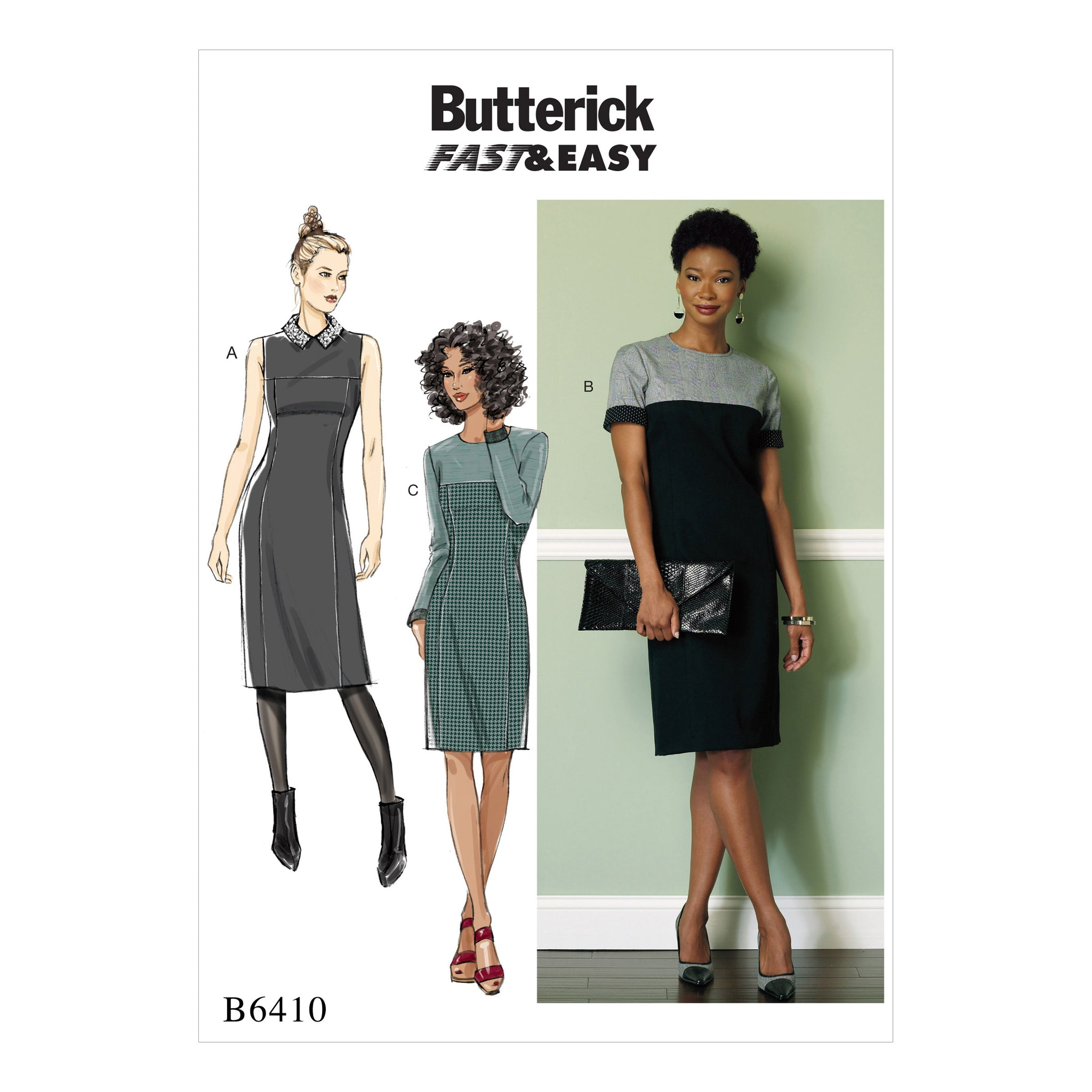 Butterick B6410A50 Misses'/Miss Petite Paneled Dresses with Yokes 6-8-10-12-14