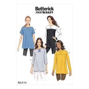 Butterick B6416A50 Misses' Button-Closure Tunics with Yokes 6-8-10-12-14