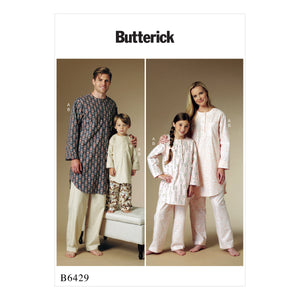 Butterick B6429ADT Misses'/Men's/Children's/Boys'/Girls' Buttoned Tunic and Pull-On Pants 34-36-38-40-42-44-46-48 (ADULTS)
