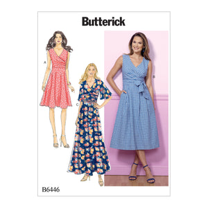Butterick B6446A50 Misses' Pleated Wrap Dresses with Sash 6-8-10-12-14