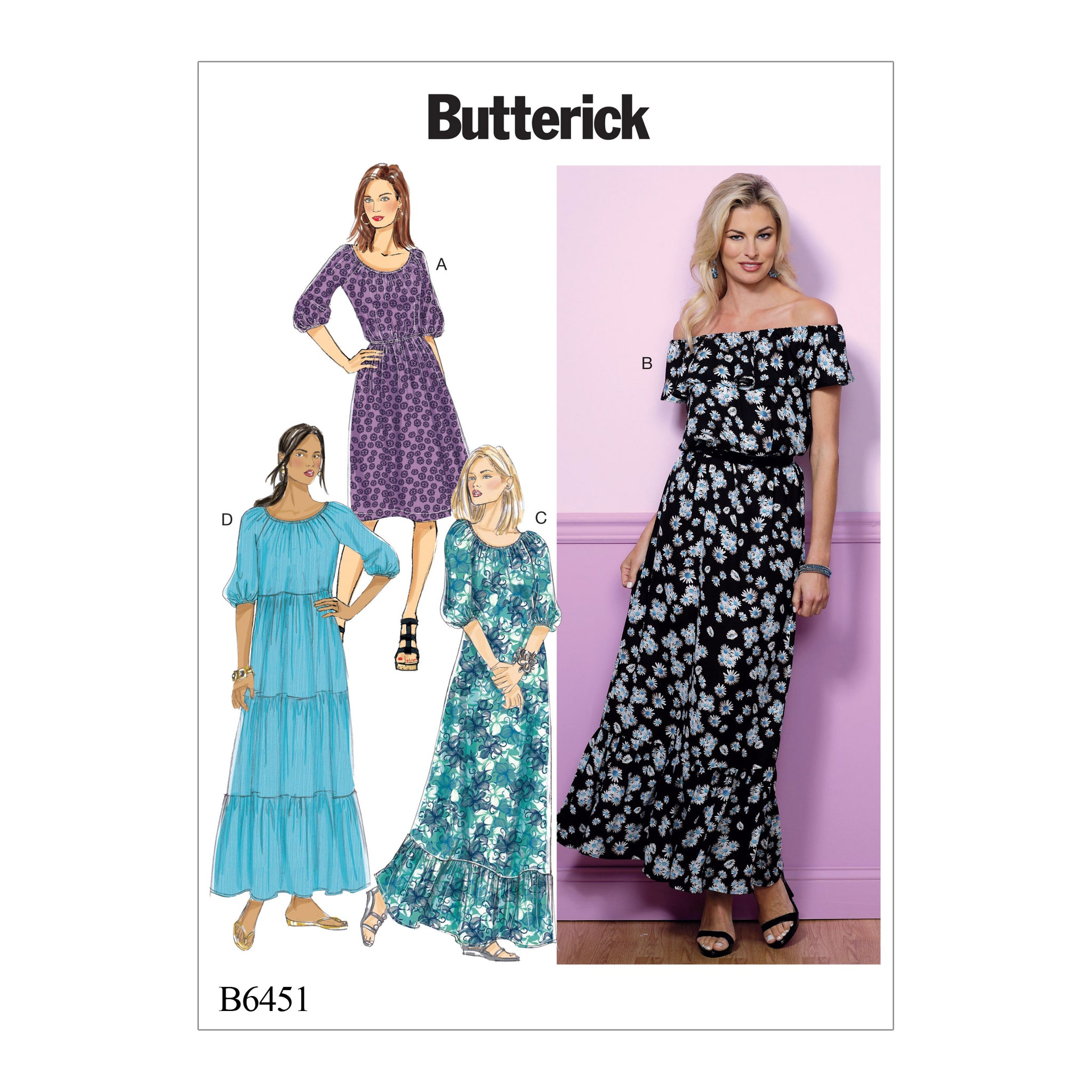 Butterick B64510Y0 Misses' Gathered, Blouson Dresses 4-6-8-10-12-14