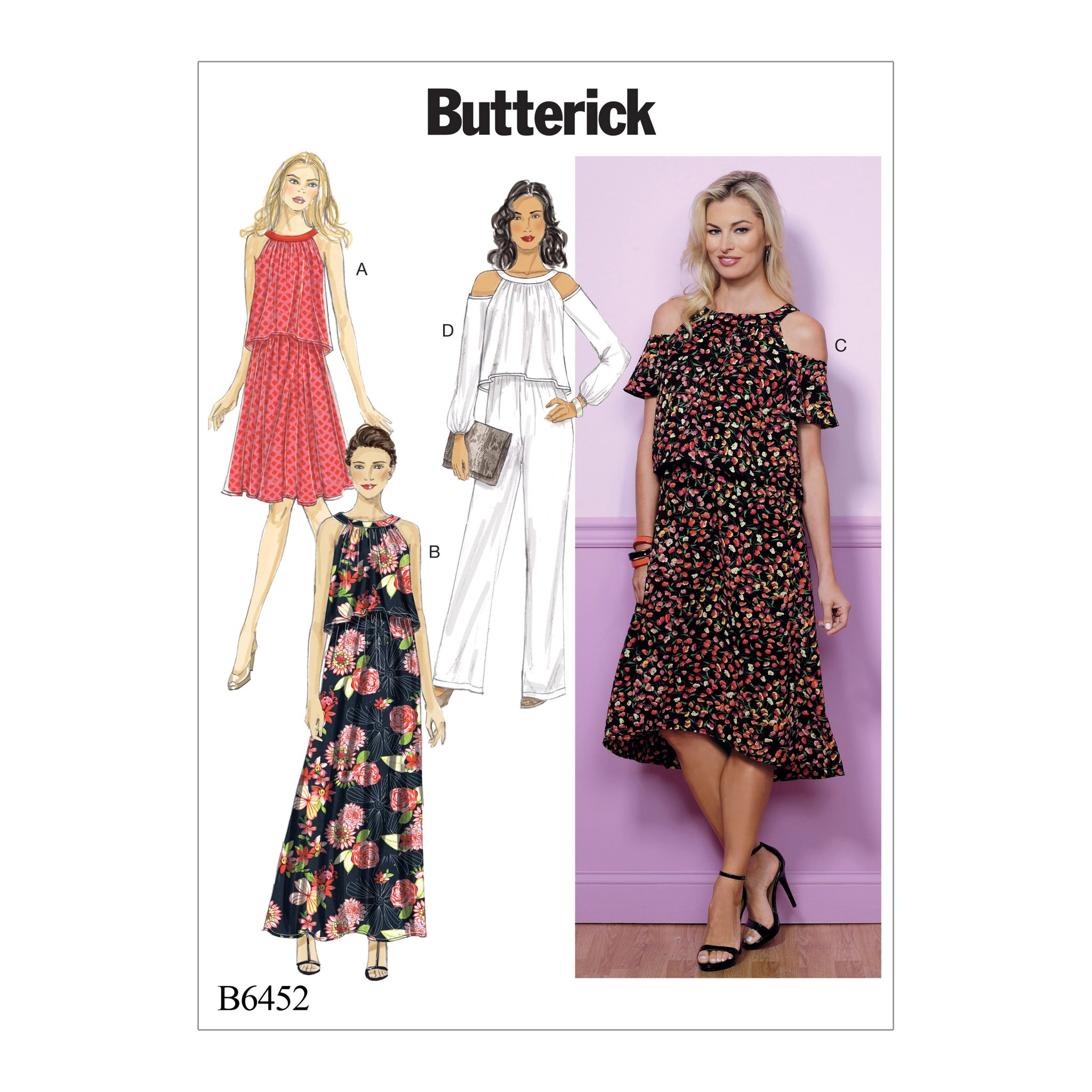 Butterick B6452E50 Misses' Cold-Shoulder or Sleeveless Dresses and Jumpsuit 14-16-18-20-22