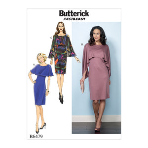 Butterick B6479A50 Misses' Pullover Dresses with Attached Capelets 6-8-10-12-14