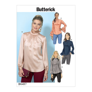 Butterick B6487A50 Misses' Tops with Gather-Detail Mock-Neck, and Sleeve Variations 6-8-10-12-14