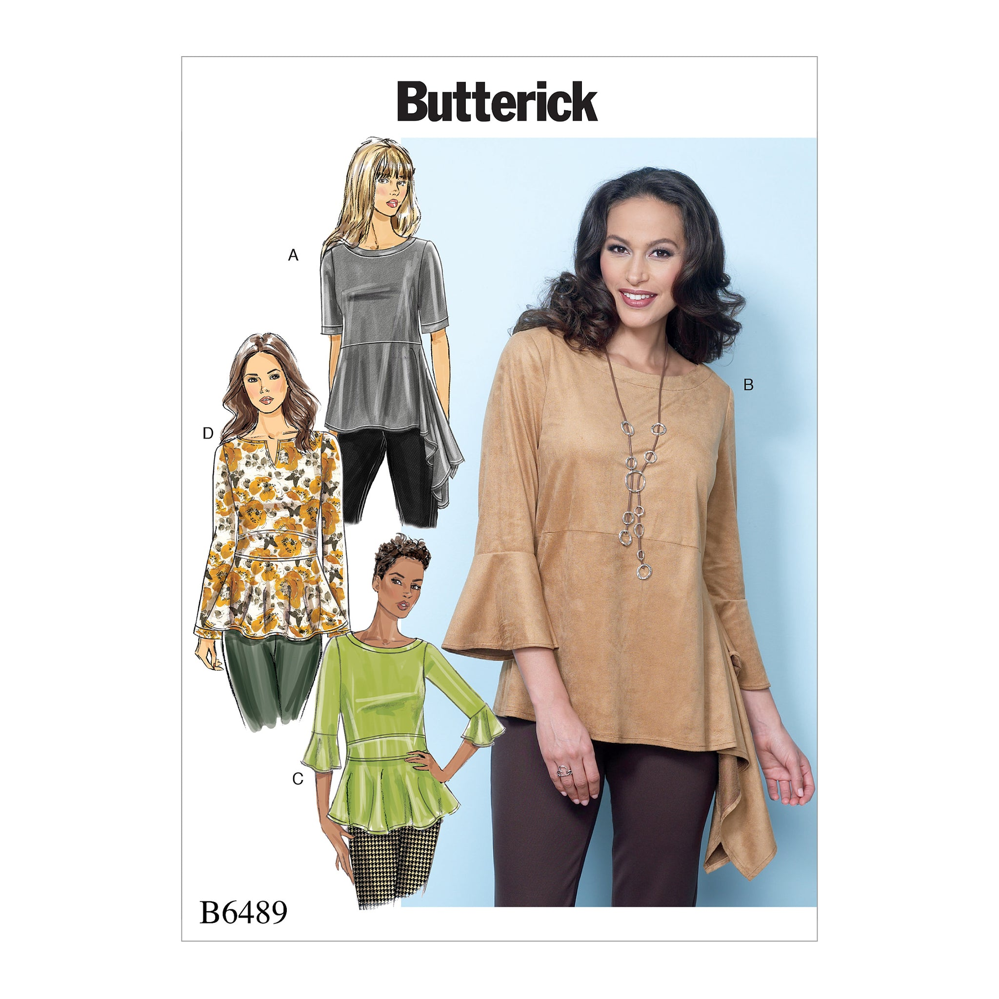 Butterick B64890Y0 Misses' Pullover Tops with Sleeve and Peplum Variations XS-S-M
