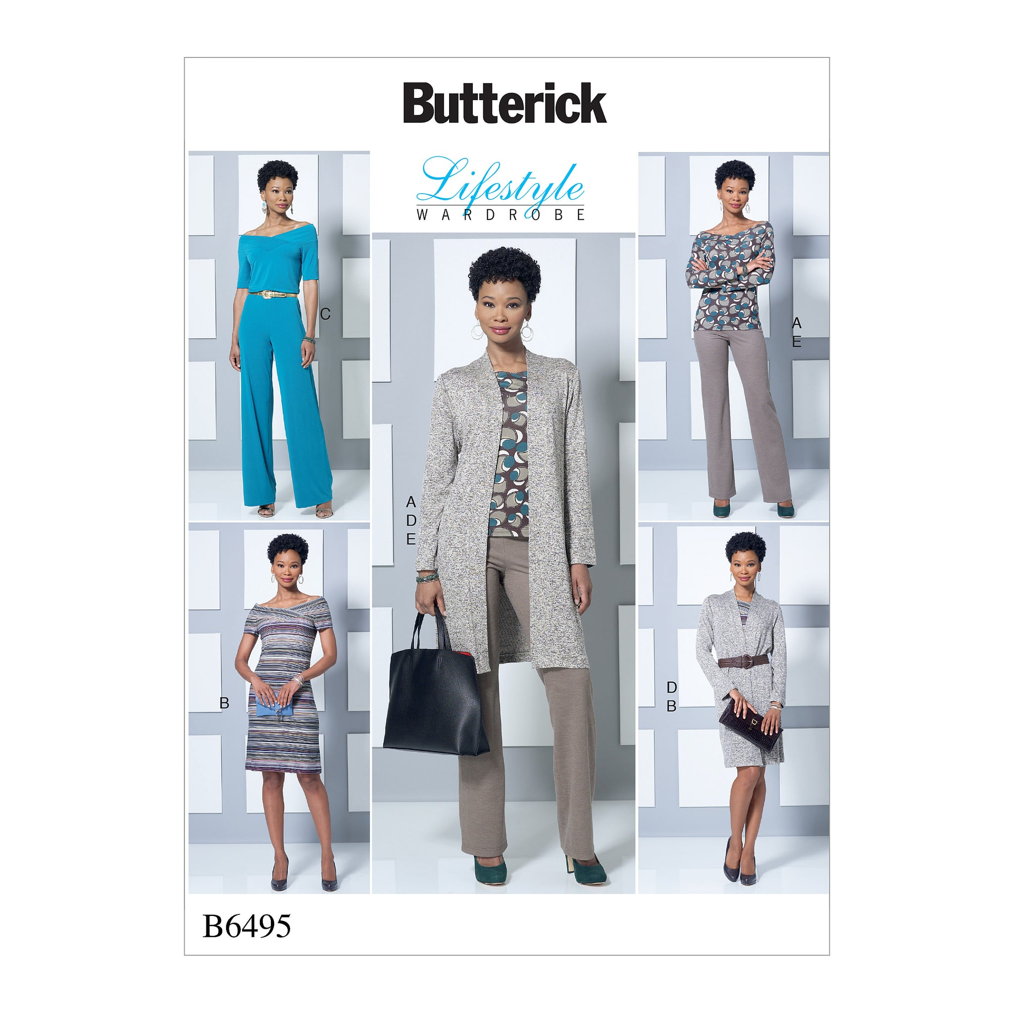 Butterick B64950Y0 Misses' Knit Off-the-Shoulder Top, Dress and Jumpsuit, Loose Jacket, and Pull-On Pants XS-S-M