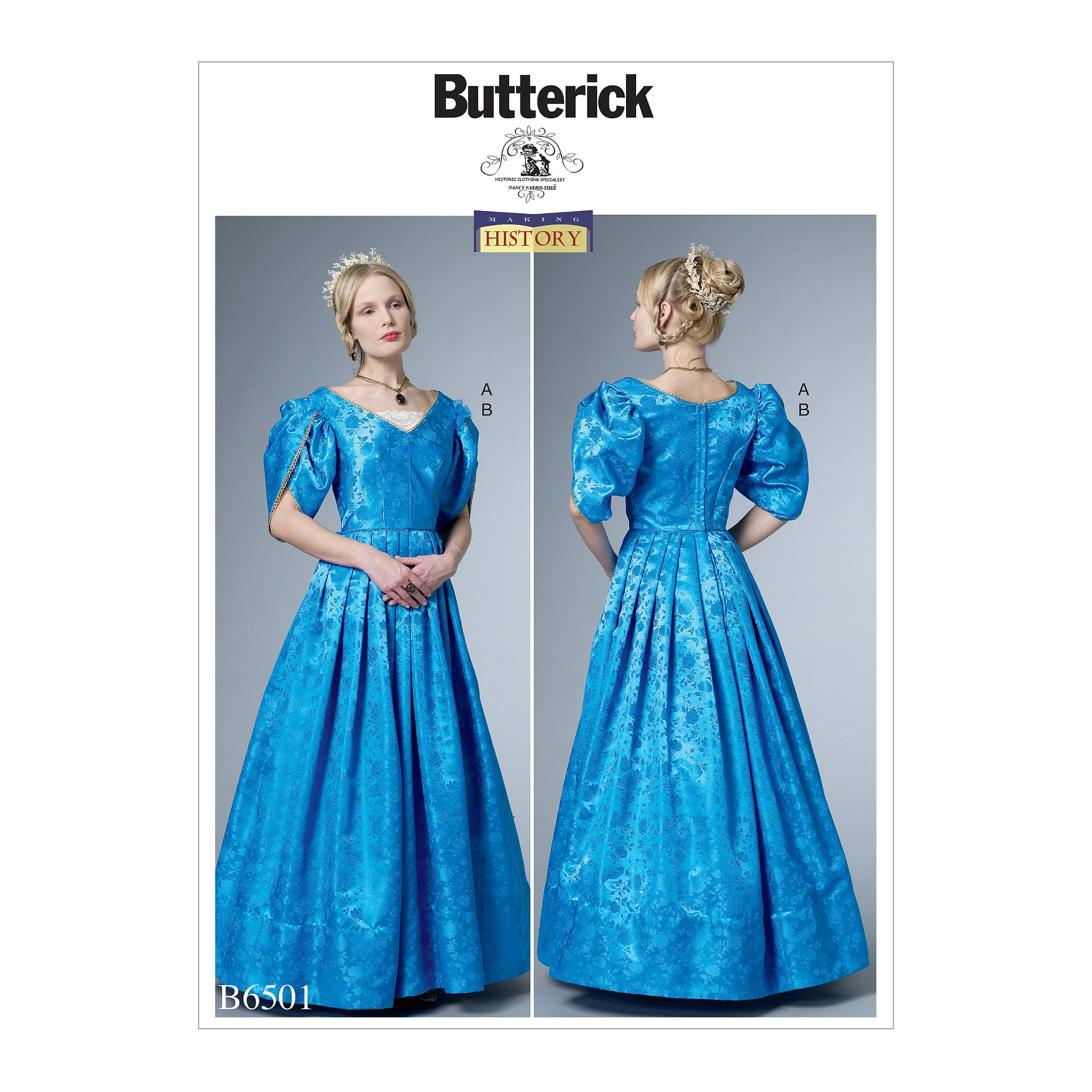 Butterick B6501E50 Misses' Dress with Boned Bodice, Lined Tulip Sleeves, and Chemisette 14-16-18-20-22