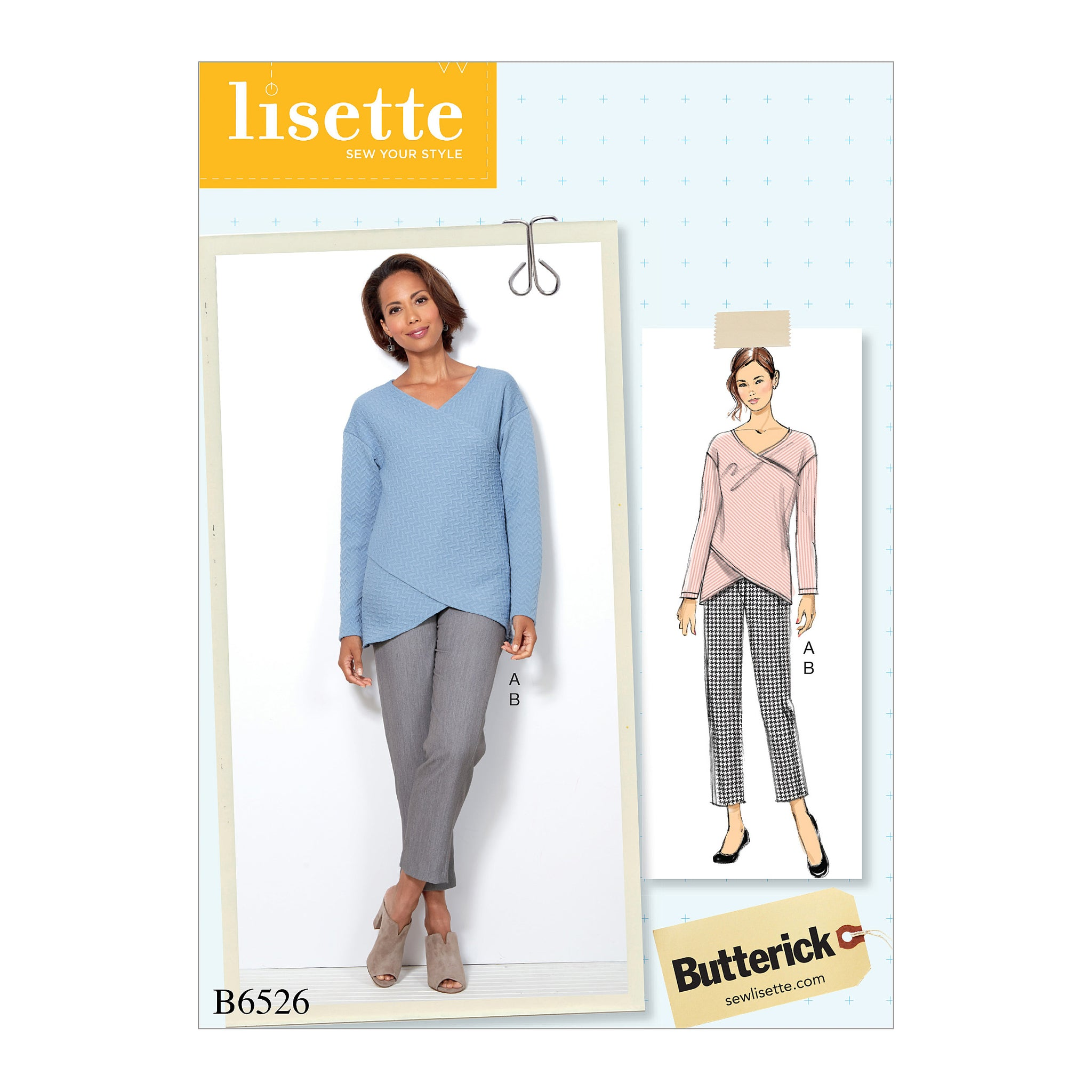 Butterick B6526A50 Misses' Crossover Knit Top and Side-Seam-Detail Pants 6-8-10-12-14