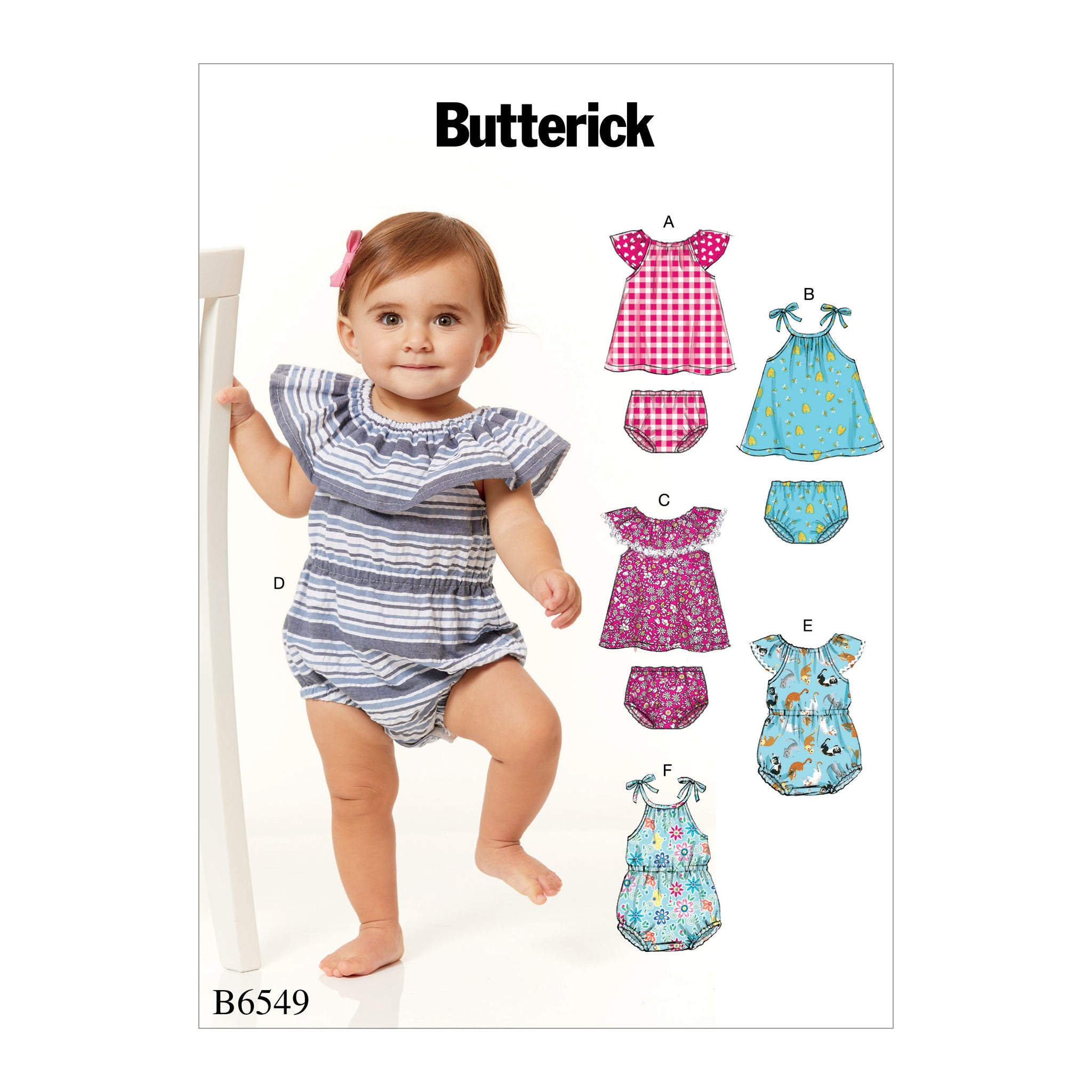 Butterick B6549YA5 Infants Romper, Dress and Panties NB-S-M-L-XL