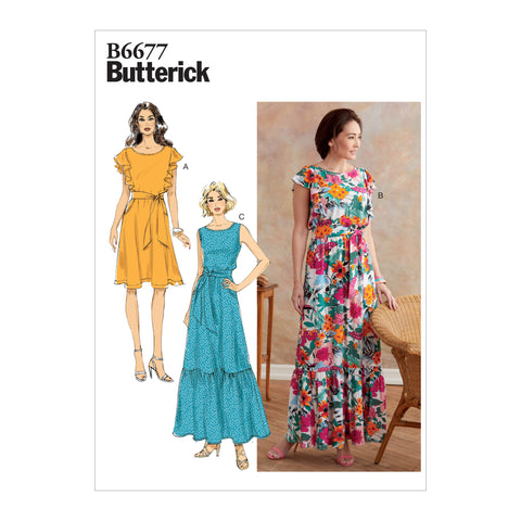 Butterick B6677A5 Misses' Dress and Sash 6-8-10-12-14