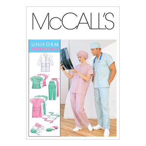 McCall's M61070Z0 Misses'/Men's Lab Coat, Dress, Top, Pull-On Pants, Hats and Tie belt XLG-XXL