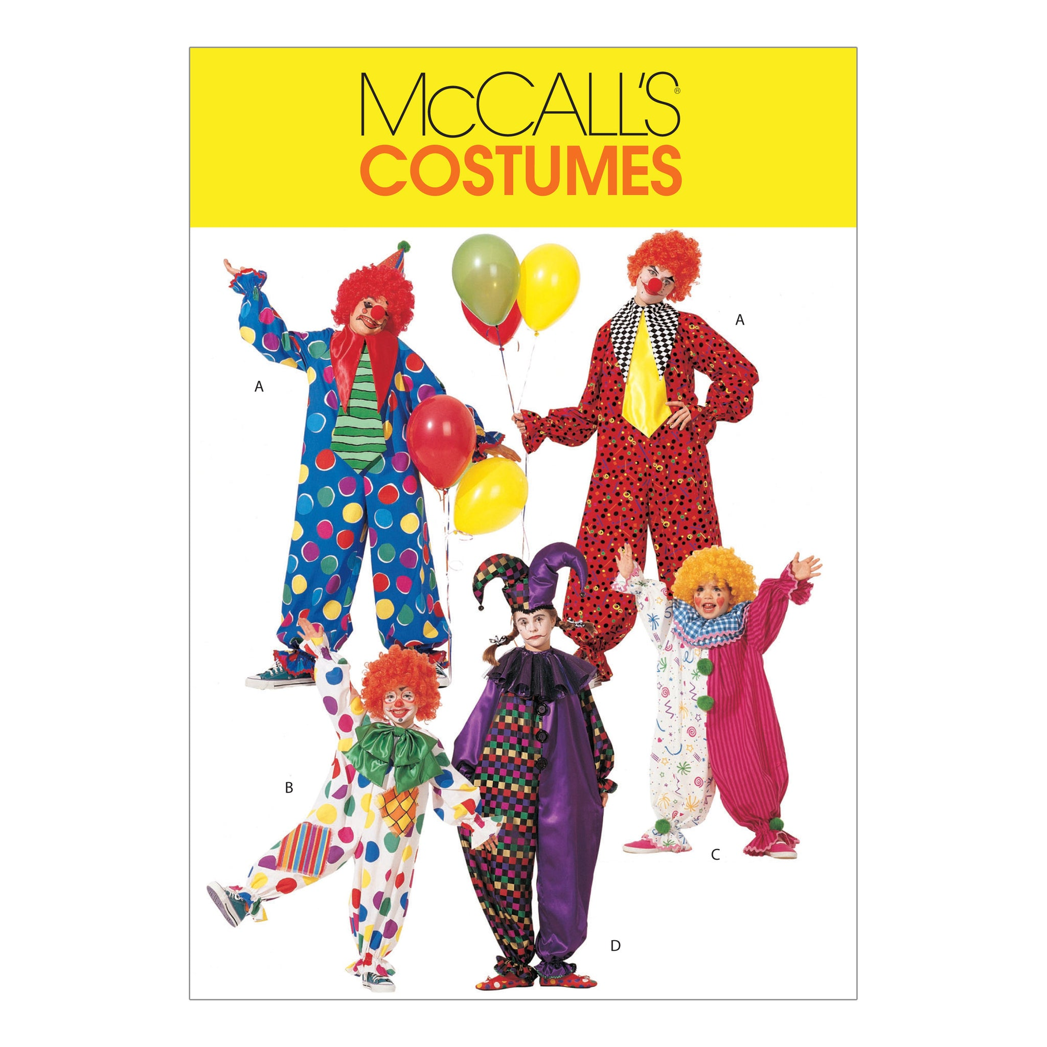 McCall's M6142XSM Children's/Boys'/Girls'/Misses'/Men's/Teen Boys' Clown Costumes X-SMALL