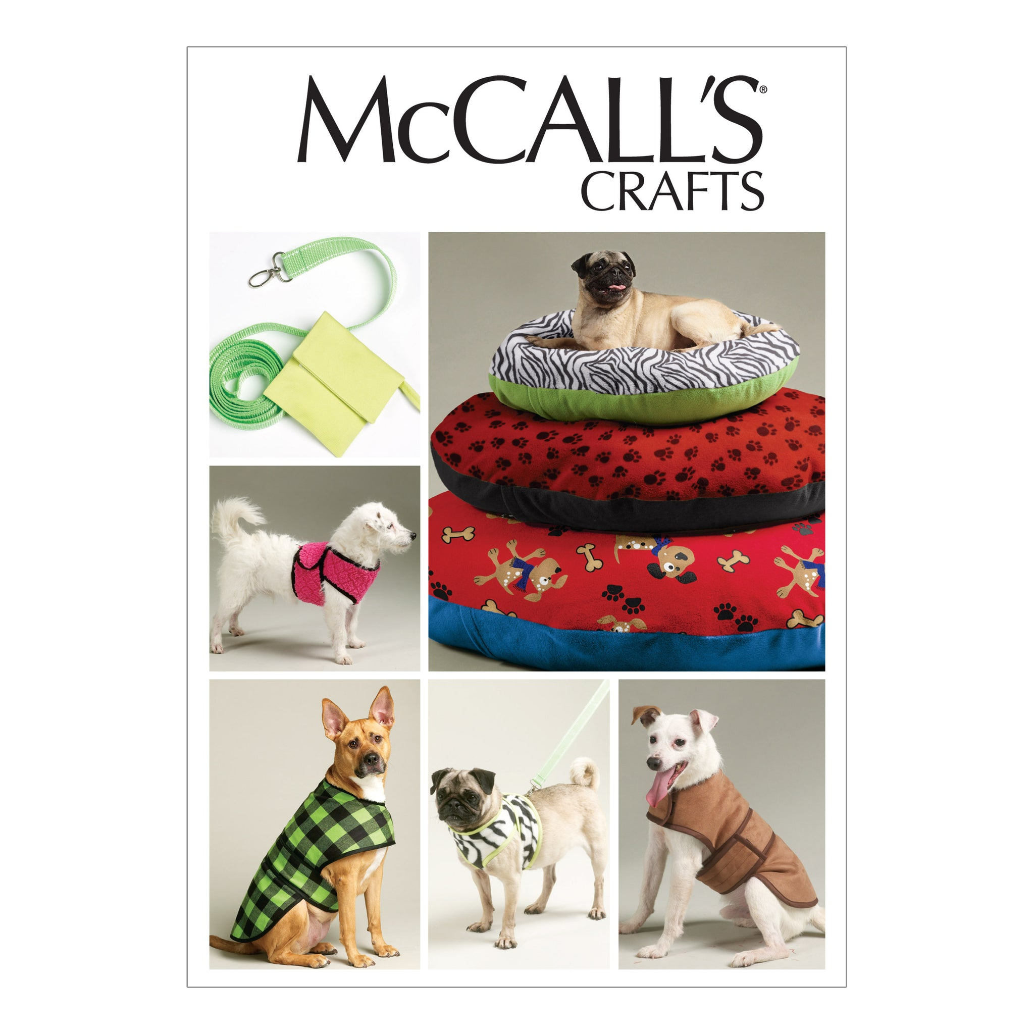 McCall's M6455OSZ Dog bed In 3 Sizes, Leash, Case, Harness Vest and Coat All Sizes In One Envelope