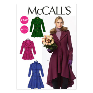 McCall's M6800A50 Misses'/Miss Petite Lined Coats, belt and Detachable Collar and Hood 6-8-10-12-14