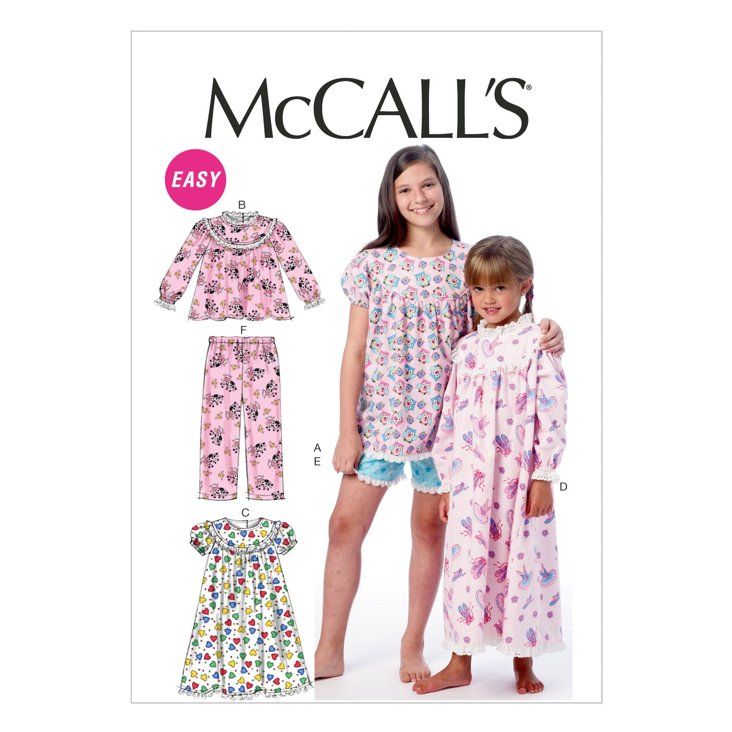 McCall's M6831CHJ Children's/Girls' Tops, Gowns, Short and Pants 7-8-10-12-14