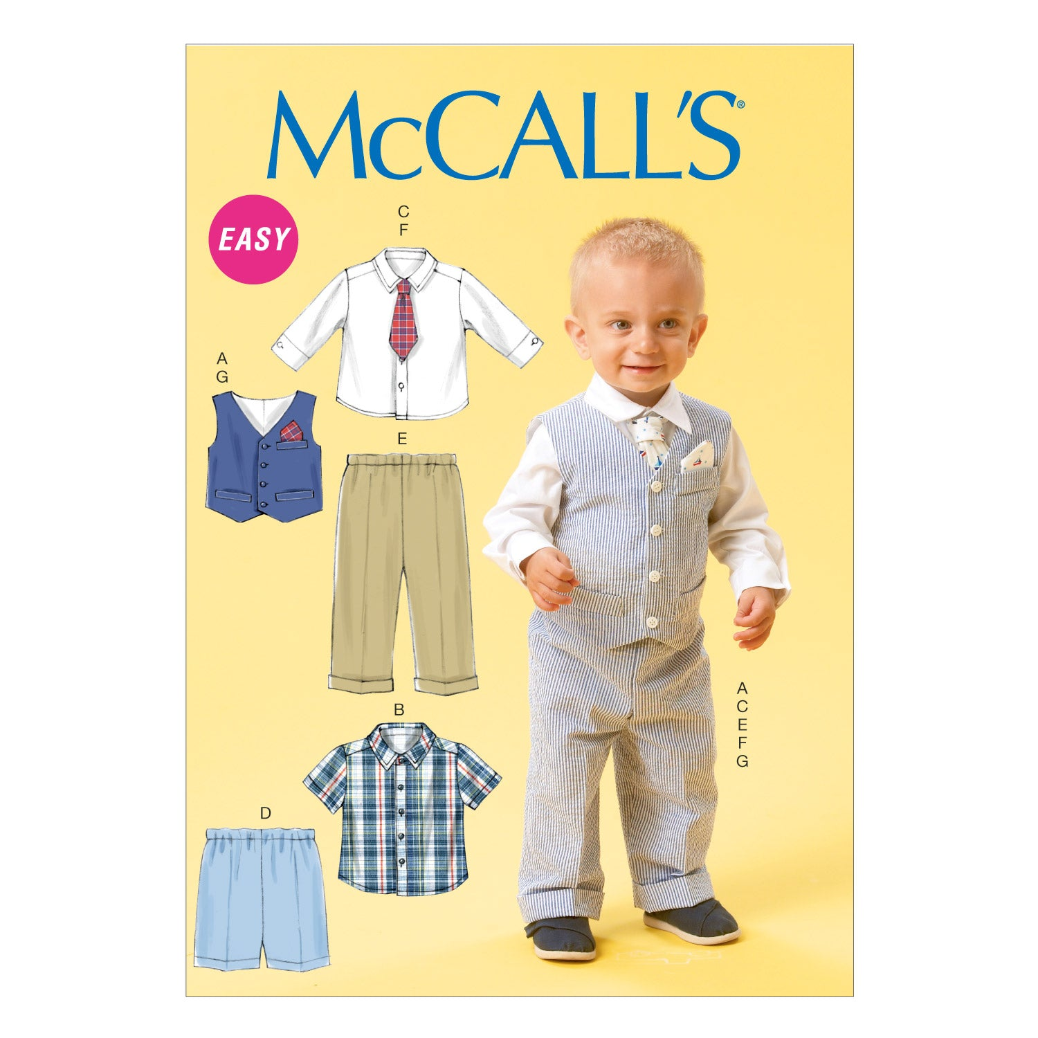 McCall's M6873YA5 Infants' Vest, Shirt, Shorts, Pants, Tie and Pocket Square All Sizes In One Envelope