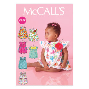 McCall's M7107YA5 Infants' Rompers All Sizes In One Envelope