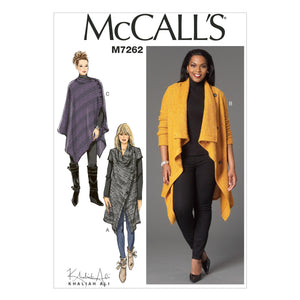McCall's M7262BB Misses'/Women's Sweater Coat and Poncho 8-10-12-14-16