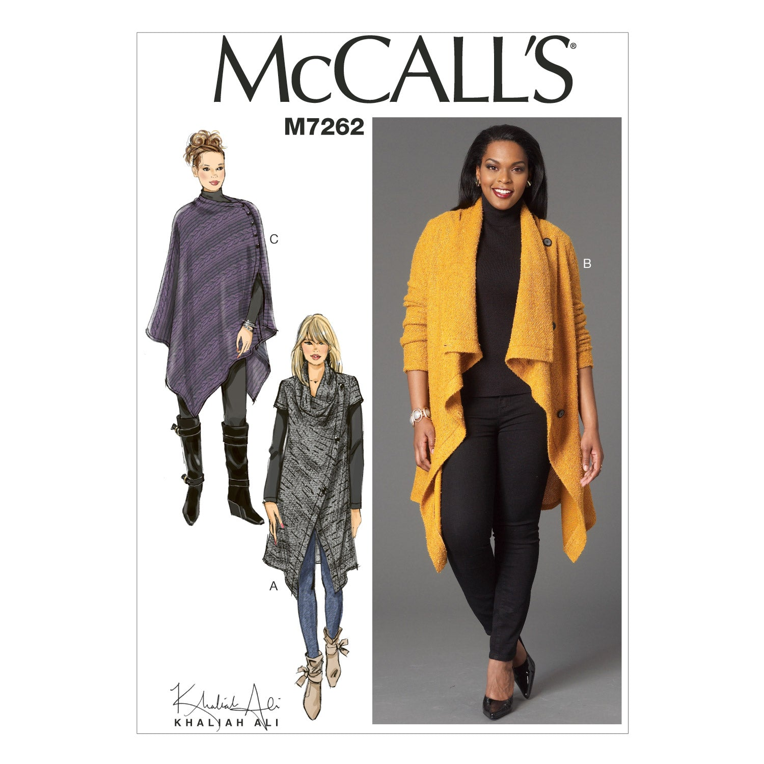 McCall's M7262RR0 Misses'/Women's Sweater Coat and Poncho 18W-20W-22W-24W