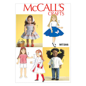 "McCall's M7266OSZ 18"" Retro Doll Clothes One Size Only"