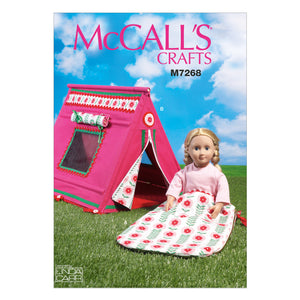 "McCall's M7268OSZ 18"" Doll's Sleeping bag and Tent One Size Only"