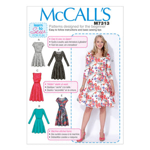 McCall's M7313BB Misses'/Women's Flared Dresses 8-10-12-14-16