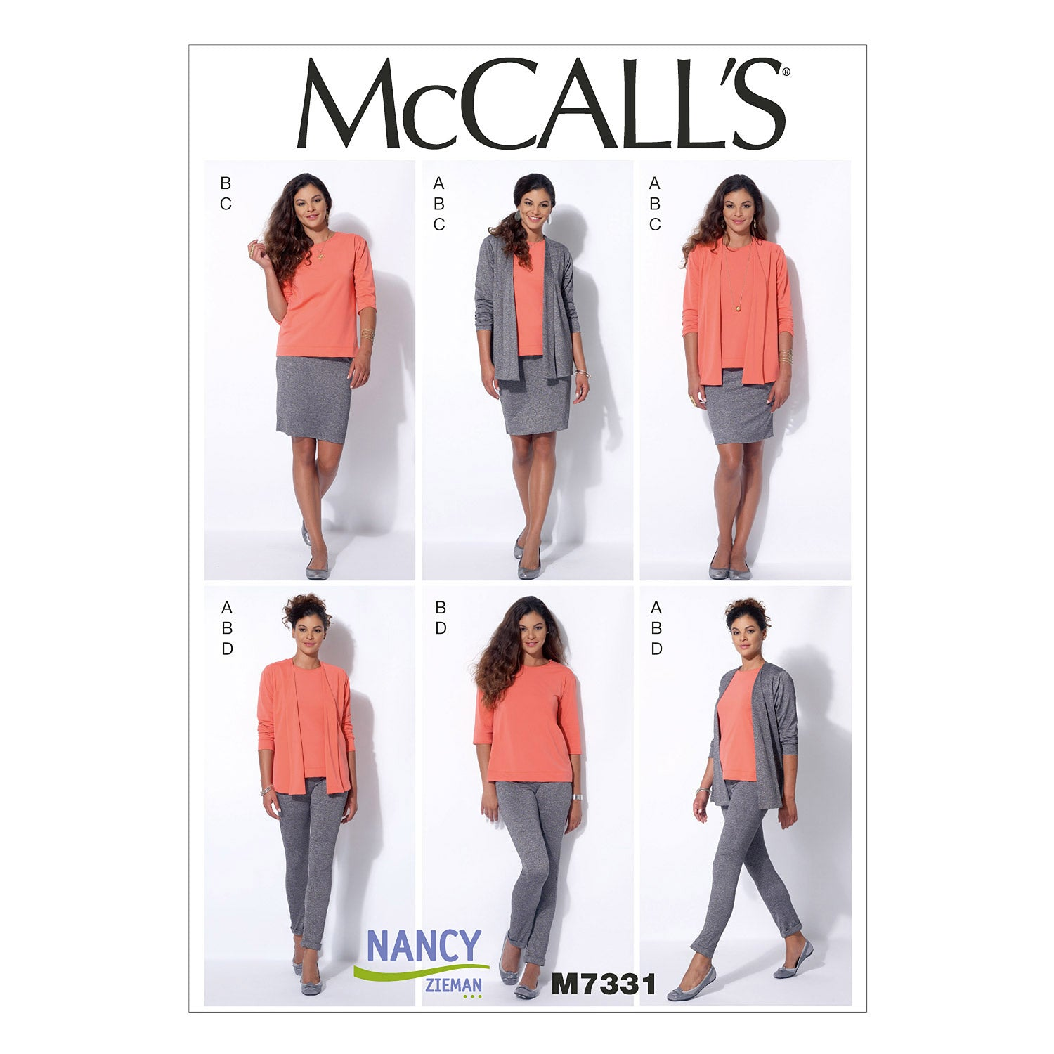 McCall's M7331E50 Misses' Cardigan, T-Shirt, Pencil Skirt and Leggings 14-16-18-20-22
