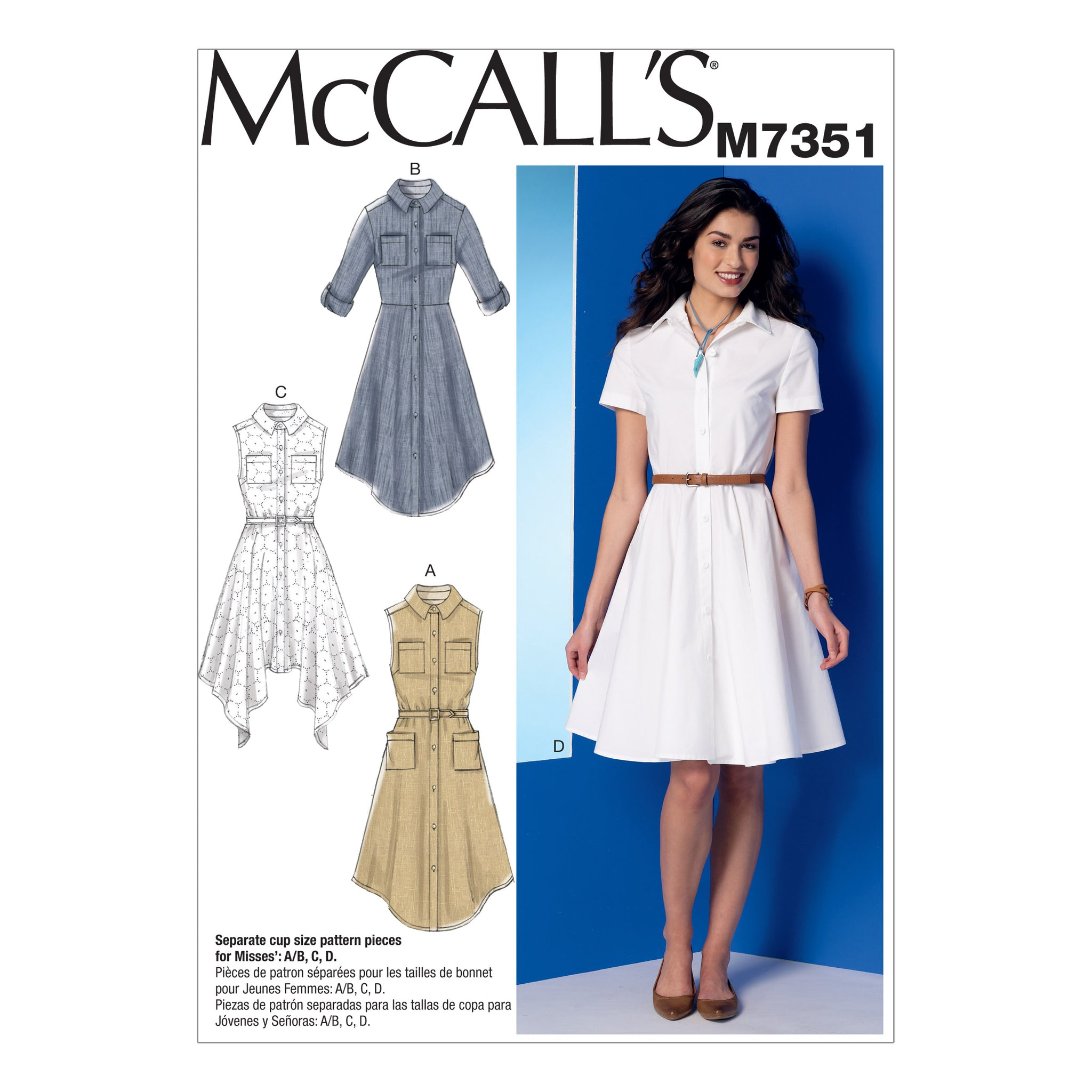 McCall's M7351A50 Misses' Shirtdresses with Pockets and belt 6-8-10-12-14