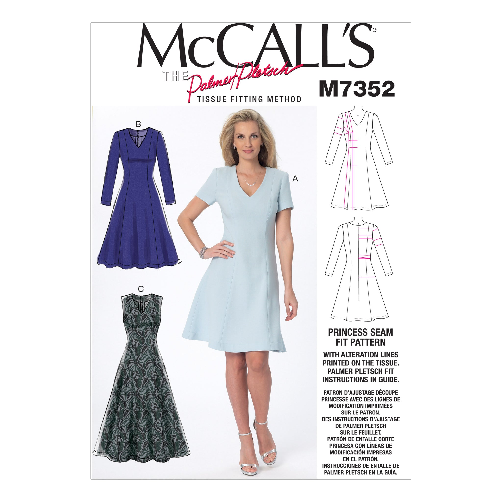 McCall's M7352OSZ Misses' Jewel or V-Neck Fit and Flare Dresses 18-20-22