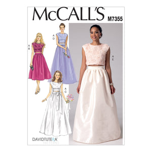 McCall's M7355A50 Misses' Crop Top and Gathered Skirts 6-8-10-12-14