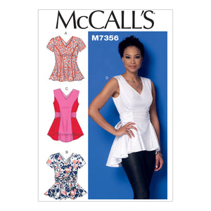 McCall's M7356E50 Misses' V-Neck Fit and Flare Tops 14-16-18-20-22