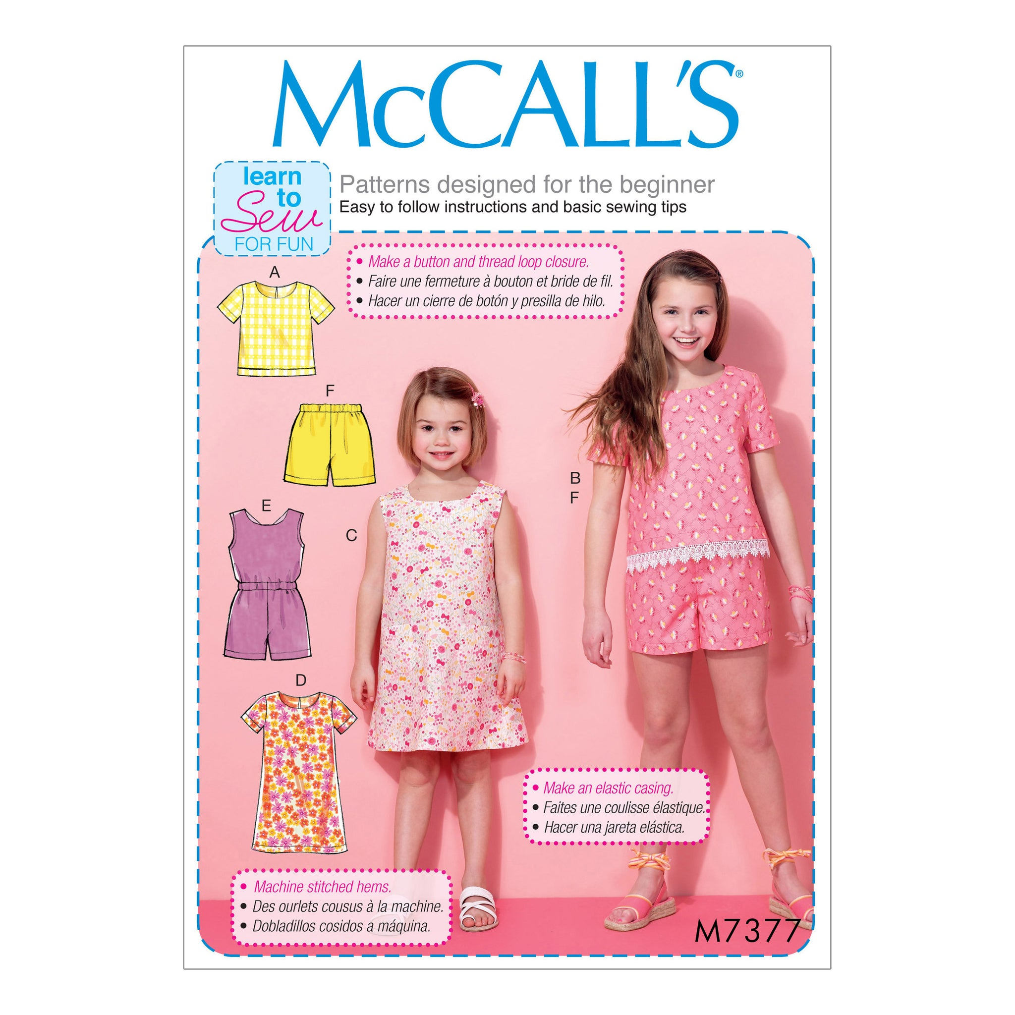 McCall's M7377CCE Children's/Girls' Tops, Tent Dresses, blouson-bodice Romper and Shorts 3-4-5-6