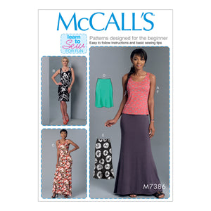 McCall's M7386ZZ0 Misses' Knit Tank Top, Dresses and Skirts LRG-XLG-XXL