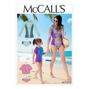 McCall's M7417KID Misses'/Girls' Swimsuits 3-4-5-6-7-8
