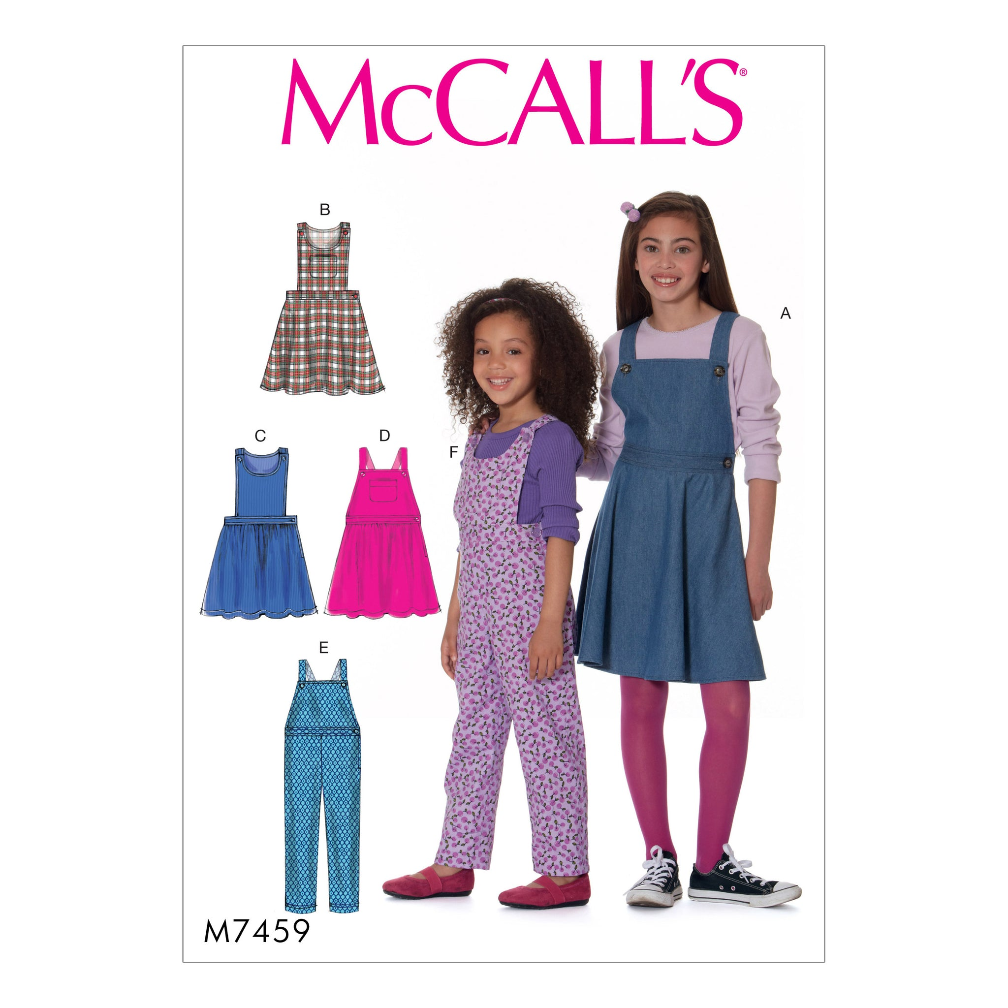 McCall's M7459CHJ Children's/Girls' Jumpers and Overalls 7-8-10-12-14