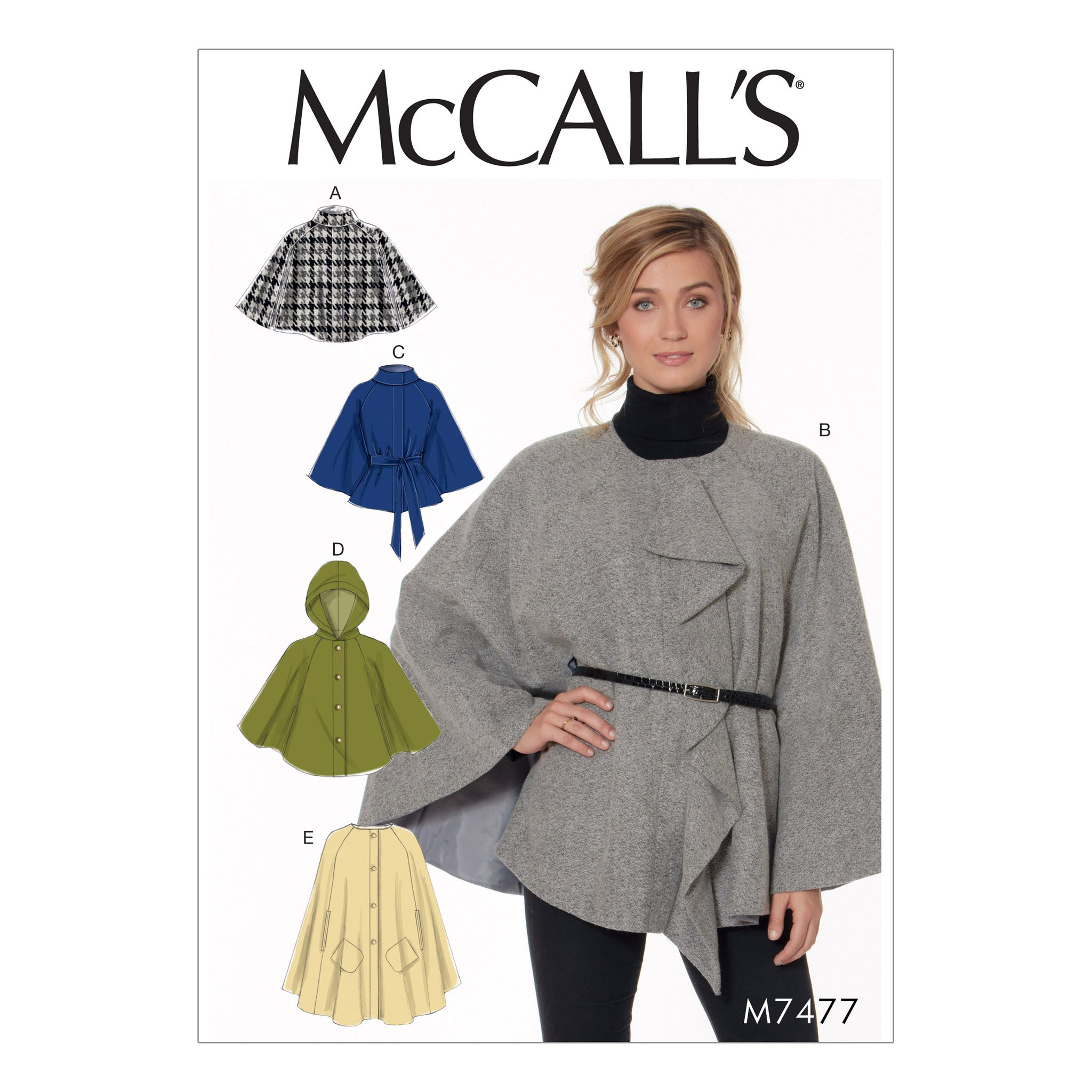 McCall's M74770Y0 Misses' Hooded, Collared or Collarless Capes 4-6-8-10-12-14