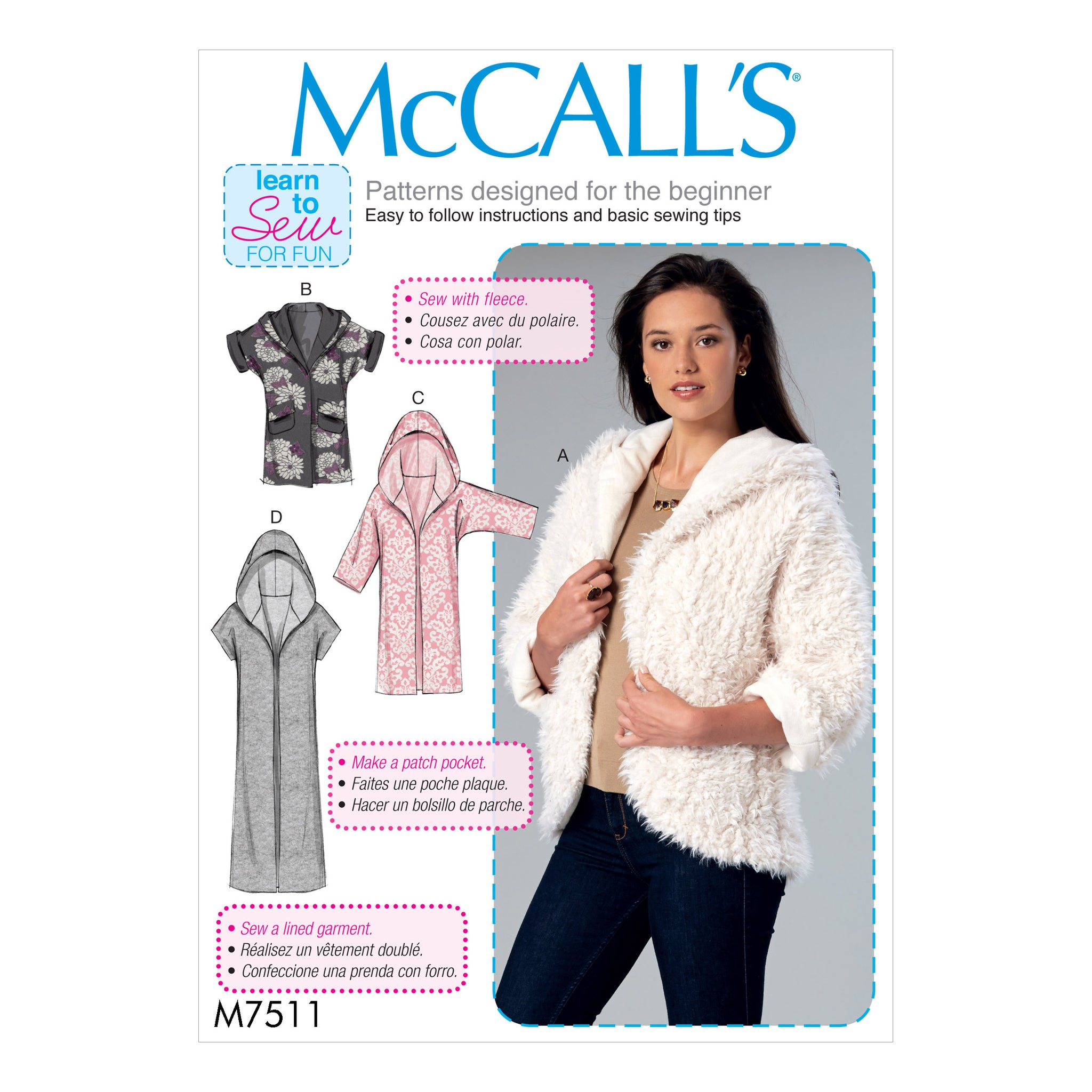 McCall's M75110Y0 Misses' Open-Front Jackets with Shawl Collar and Hood 4-6-8-10-12-14