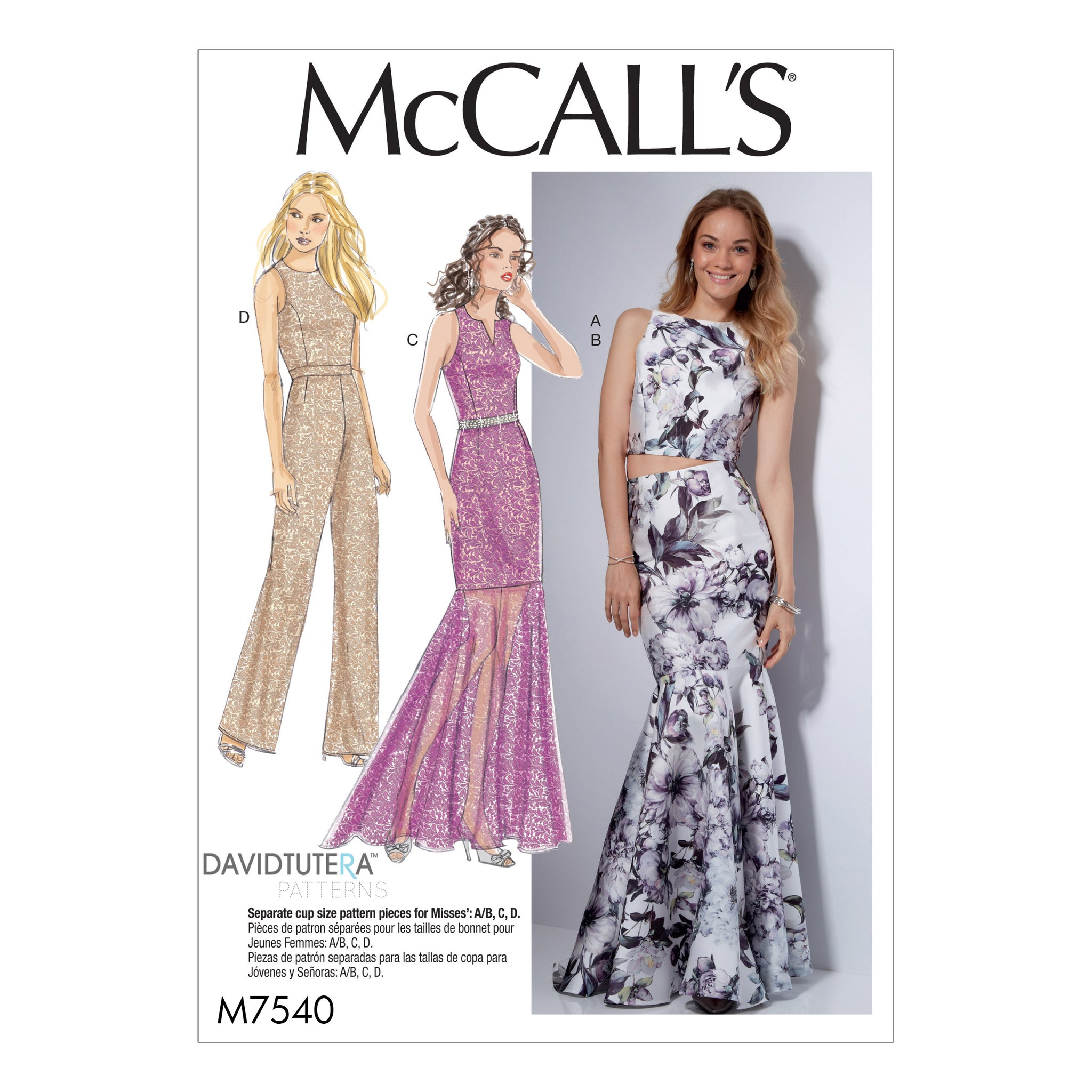 McCall's M7540E50 Misses' Princess Seam Top, Trumpet Dress and Skirt, and Tulip-back Jumpsuit 14-16-18-20-22