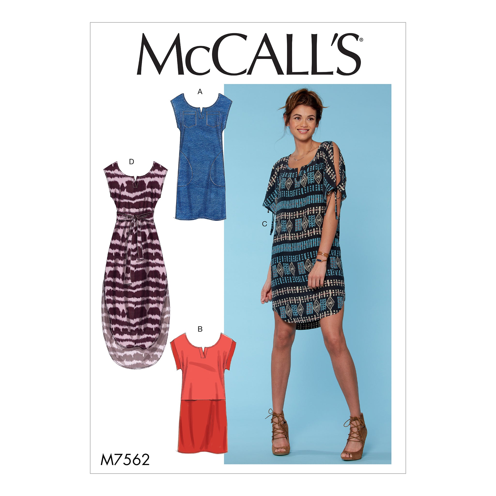 McCall's M75620Y0 Misses' Pullover Dresses with Sleeve Ties, Pocket Variations, and belt XSM-SML-MED
