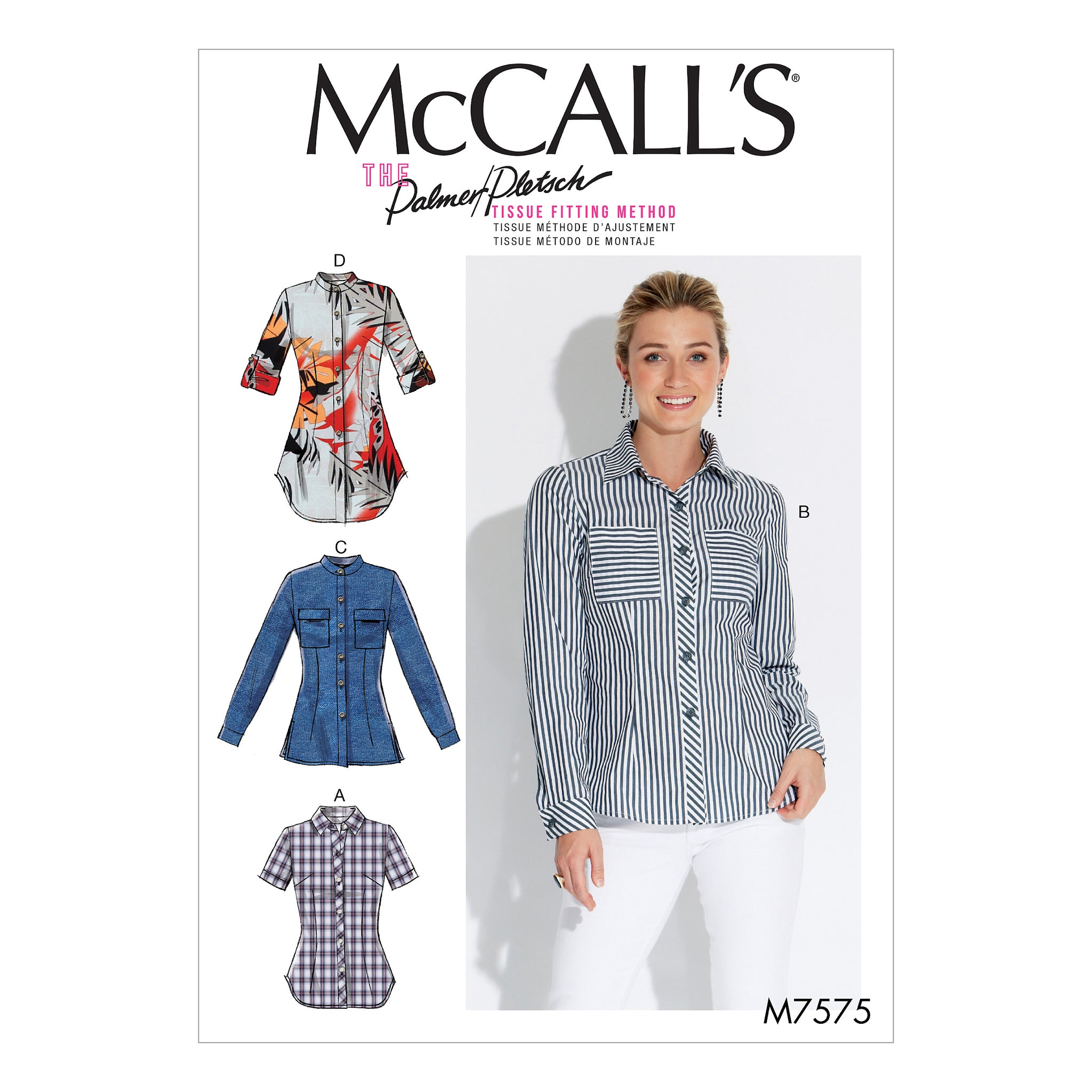 McCall's M7575BB Misses' button-Down Shirts with Collar, Sleeve and Pocket Variations 8-10-12-14-16