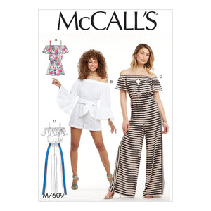 McCall's M7609ZZ0 Misses' Pull-On Off-the-Shoulder Rompers and Jumpsuits with Elastic Waist and Sash LRG-XLG-XXL