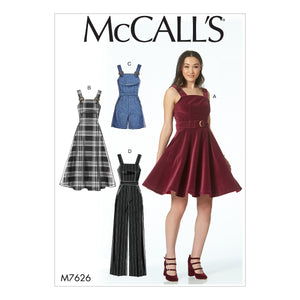 McCall's M7626D50 Misses' Dresses, belt, Romper, and Jumpsuit with Pockets 12-14-16-18-20