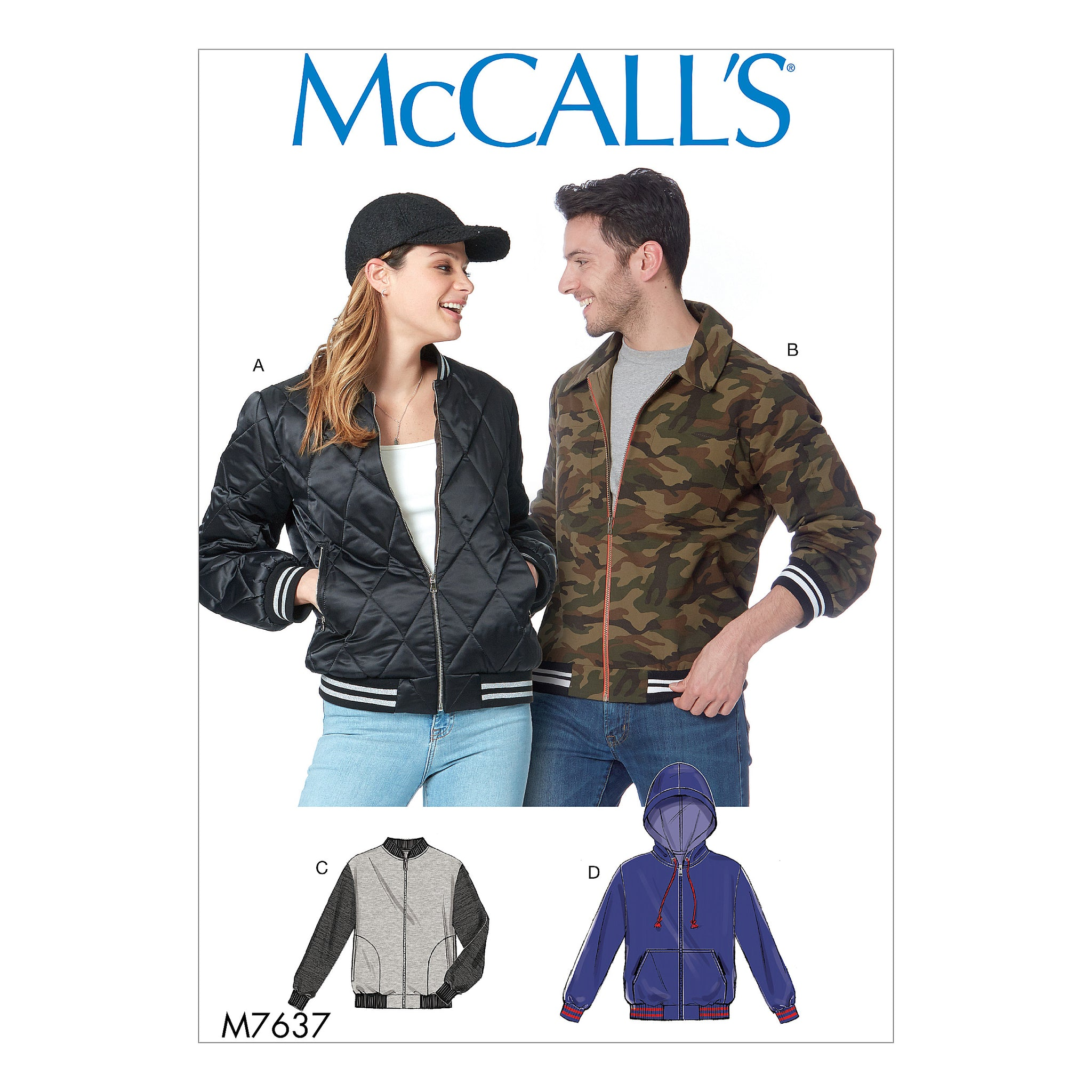 McCall's M7637XN0 Misses' and Men's bomber Jackets XLG-XXL-XXXL