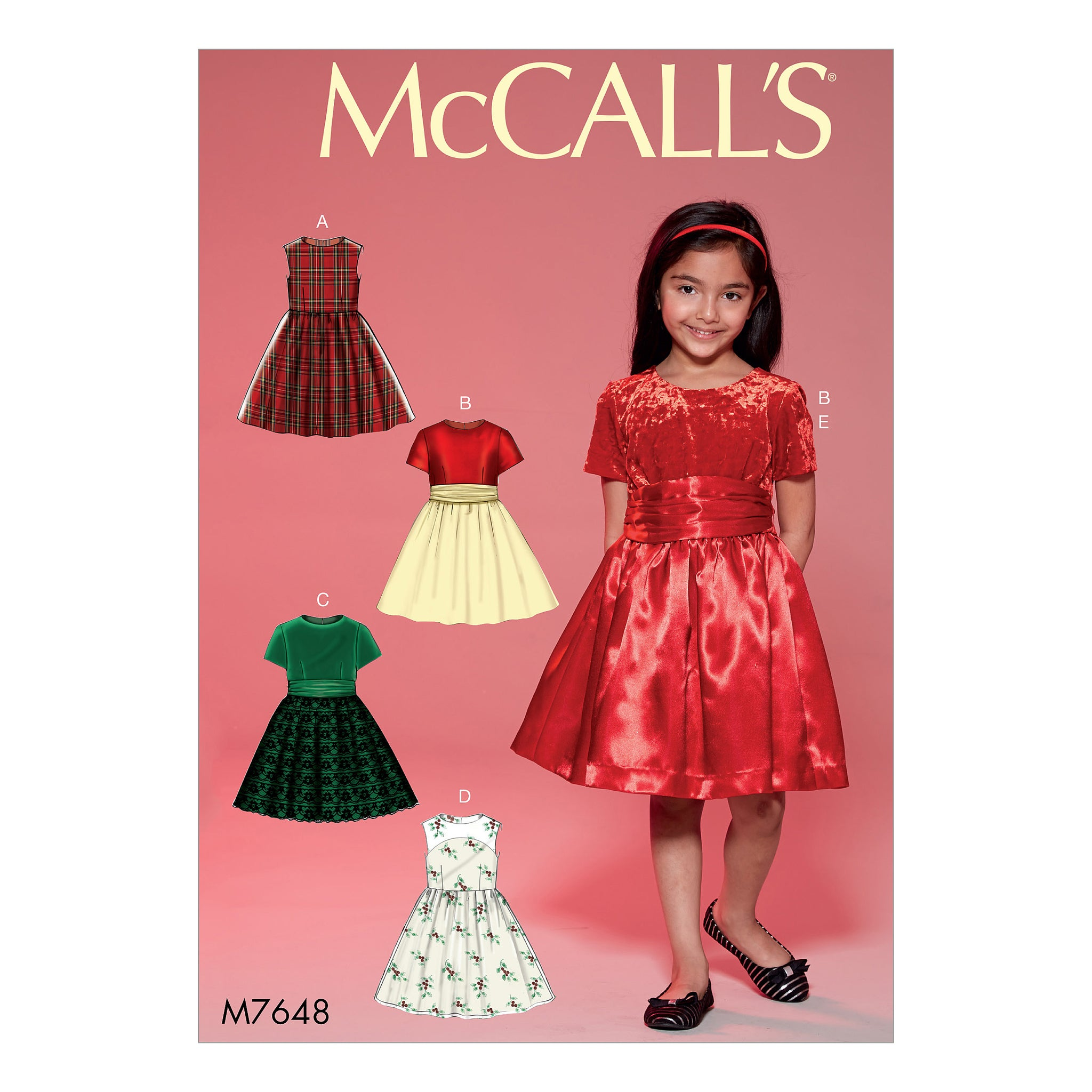 McCall's M7648CHJ Childrens'/Girls' Gathered Dresses with Petticoat and Sash 7-8-10-12-14