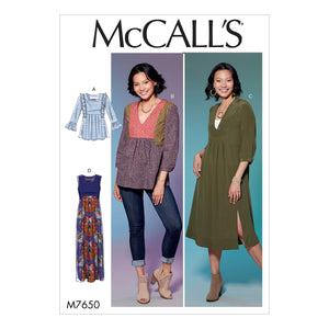 McCall's M7650E50 Misses' V-Neck or Square-Neck Top, Tunic, and Dresses 14-16-18-20-22